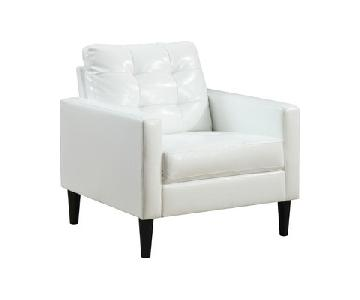 Modern Accent Chair in White Leatherette w/ Tufted Back