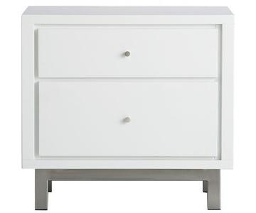 Crate & Barrel White Lacquer Nightstands w/ Chrome Legs