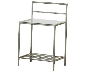 Nightstand in Metal Frame w/ Glass Top
