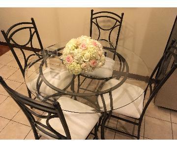 5-Piece Glass & Metal Dining Set