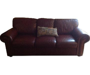 Macy's Burgundy Leather Sofa + Loveseat + Armchair