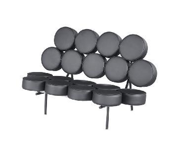 Fine Mod Imports Circle Sofa in Black Italian Leather