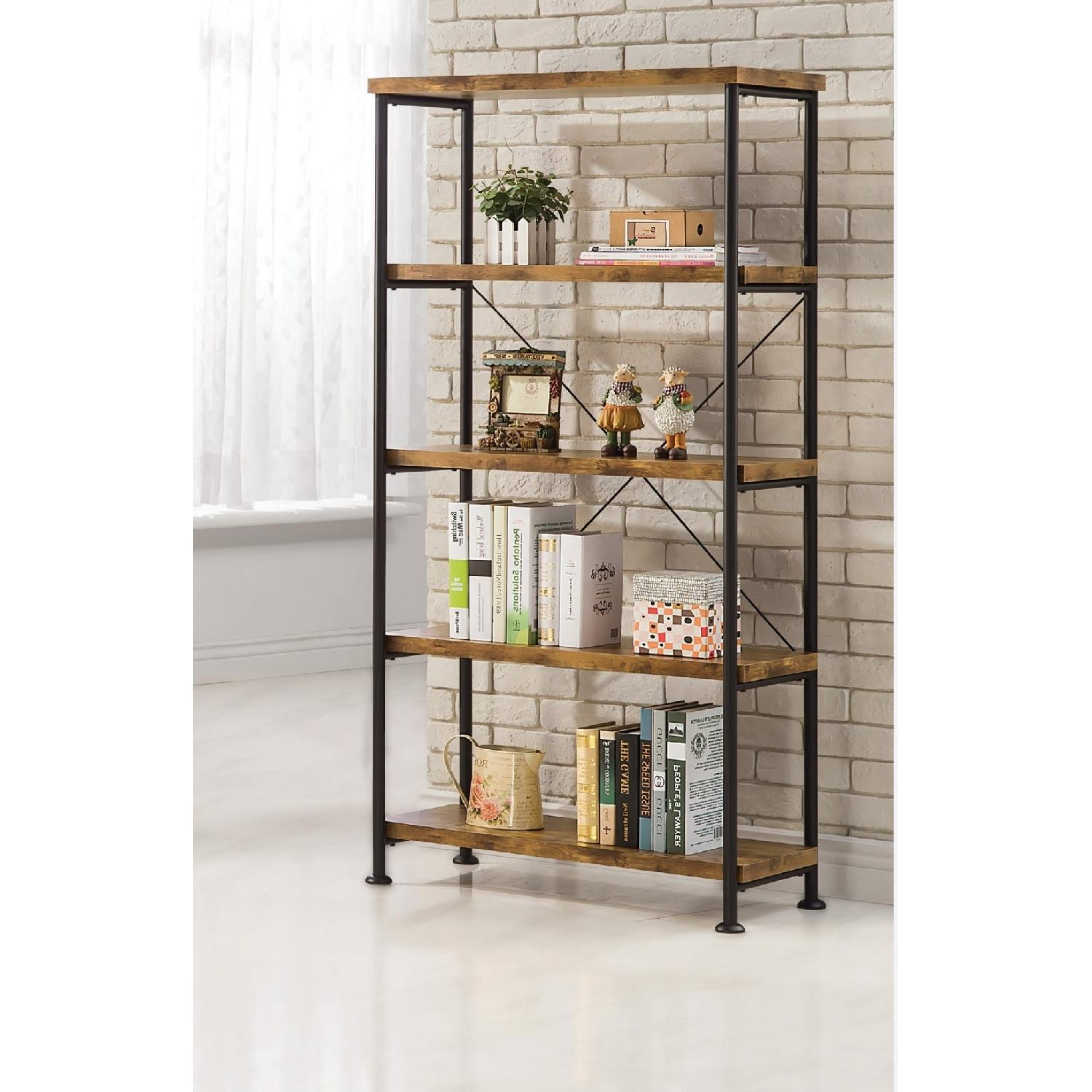 Industrial Style Wood Bookcase W Antique Nutmeg Shelves