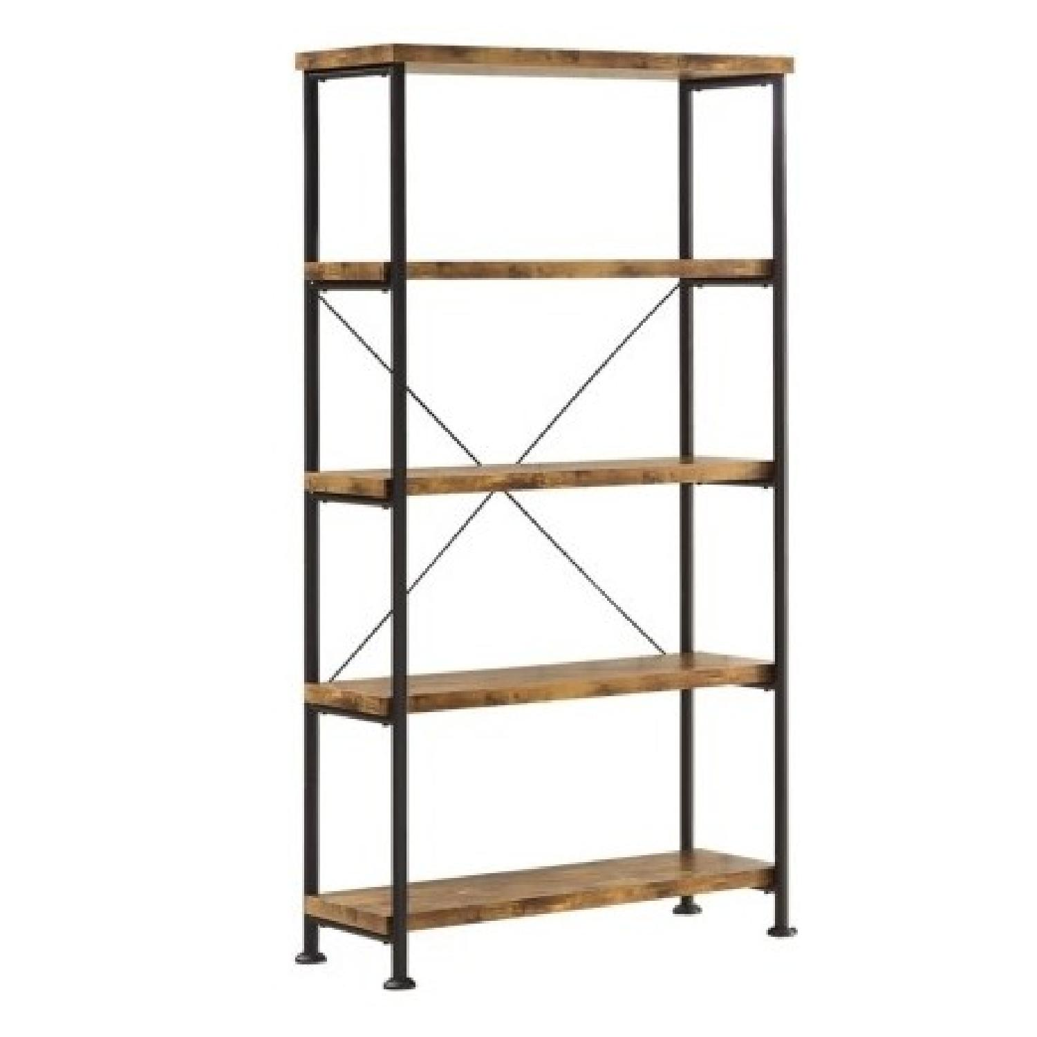 Industrial Style Wood Bookcase w/ Antique Nutmeg Shelves