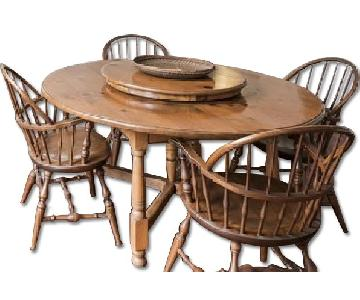 Vintage Dining Table w/ Built-in Lazy Susan