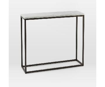West Elm Skinny Marble Top Console in Antique Bronze Finish