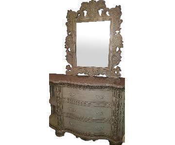 Mcferran Home Italian Granite Top Dresser w/ Mirror