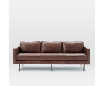 West Elm Axel 3 Seater Sofa In Aspen Leather Carob
