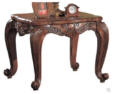 Traditional Style Square Side Table w/ Wood Carving Accent