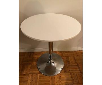 White & Chrome Round Cafe Table