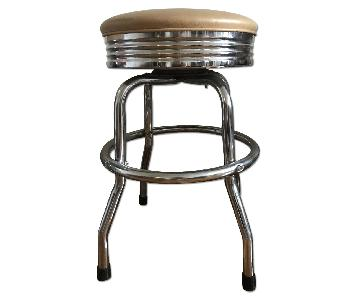 Retro Chrome Swivel Barstool in Beige