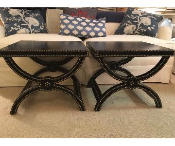 Baker Furniture Black Leather Curved X Side Table