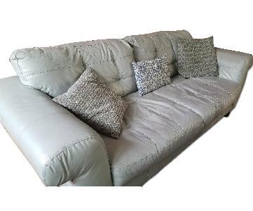Robin's Egg Blue Leather Sofa