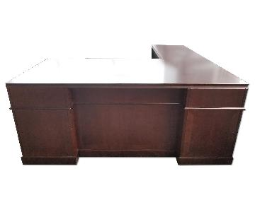 Wood L Shaped Executive Desk