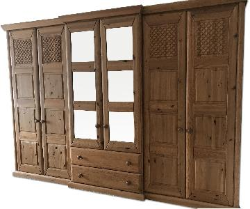 German Solid Pine Wood Armoire