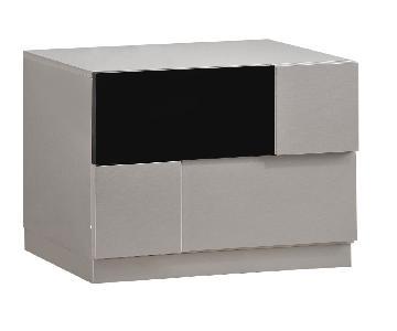 Modern 2-Drawer Nightstand in Gloss Grey-Black Finish