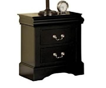 Louis Philippe Style 2-Drawer Nightstand in Black Finish