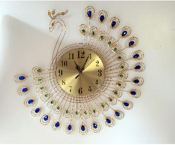 Golden Peacock Wall Clock Crystal Decor