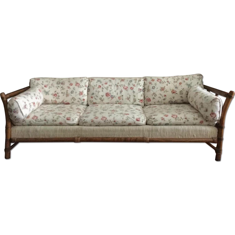Wood Frame Floral Upholstered 3 Seater Sofa AptDeco