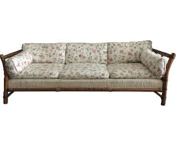 Wood Frame Floral Upholstered 3-Seater Sofa