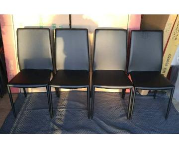 Modern Dining Chair in Black Leatherette w/ Metal Frame