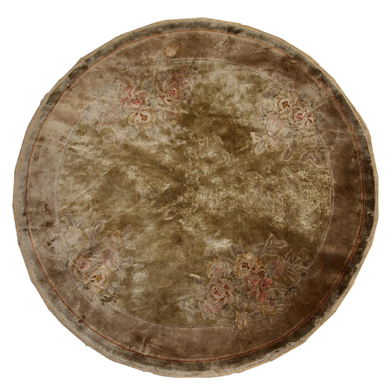 Vintage 1980s Silk Art Deco Chinese Round Rug