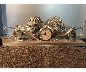 Silver Plated Lion Clock