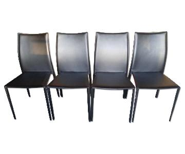Modern Stackable Dining Chair in Black Leatherette