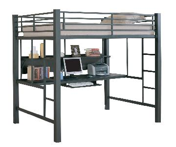 Full Size Metal Loft Bed w/ Workstation