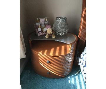 Brown 2 Drawer Side Table