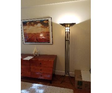 Mission Style Metal Floor Lamp w/ Glass Shade