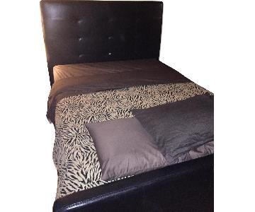Ashley Faux Leather Queen Size Bed w/ Tufted Headboard