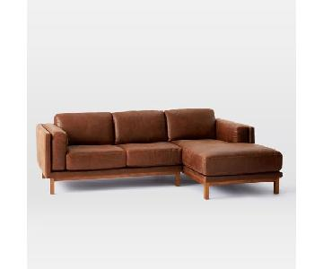 West Elm Dekalb Sectional Right Arm Chaise in Molases