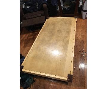 Crate & Barrel Wood Coffee Table + Side Table