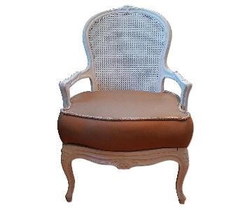 Antique Wood & White Accent Chair