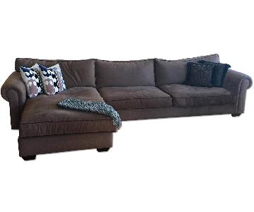 2 Piece Brown L Shaped Sectional Sofa
