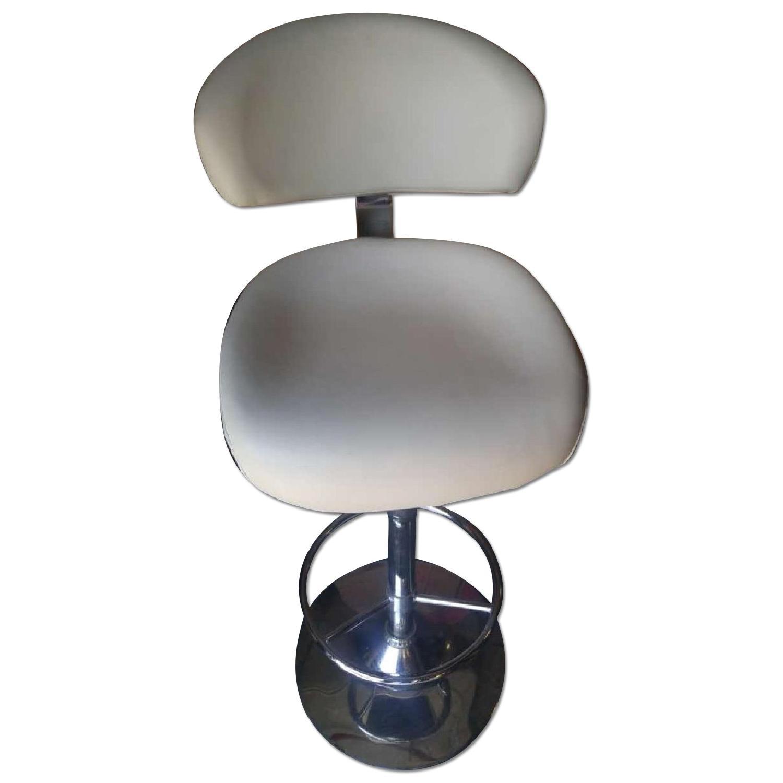 Modern Swivel Barstool in Padded Off-White Leatherette