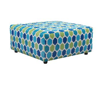 Ayanna Nuvella Oversized Accent Ottoman in Turquoise