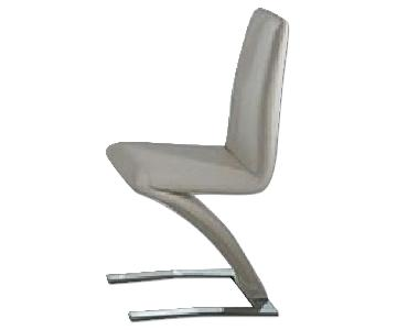 Modern Accent Chair in Off-White Leatherette w/ Z Base