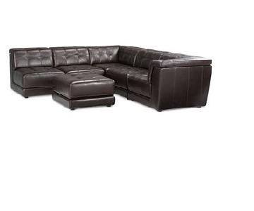 Macy's Stacey Leather 6 Piece Sectional Sofa
