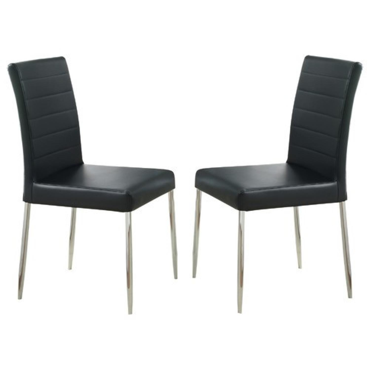 Strange Modern Dining Chair In Black Leatherette W Chrome Legs Caraccident5 Cool Chair Designs And Ideas Caraccident5Info