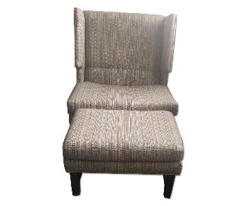 Wing-Back Armchair & Ottoman