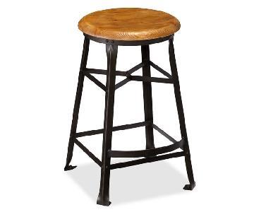 Pottery Barn Decker Wood Seat Barstool