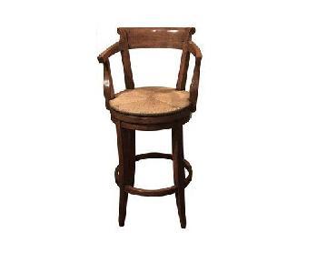 Robert Allen English Country Swivel Rush Seat Bar Stool