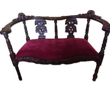 Antique Sofa w/ Velvet Seat