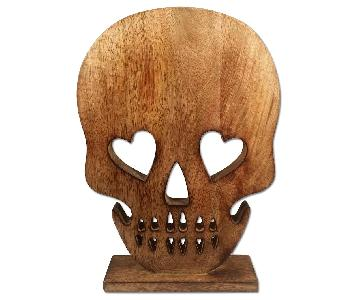 Novelty Wood Skull Face Stand
