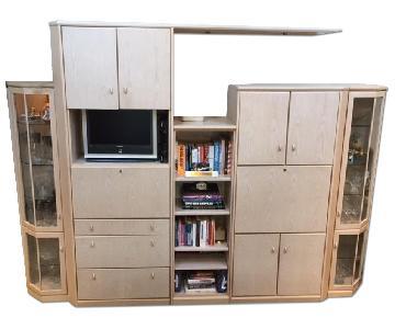 Planum Ivory Washed Oak Wall Unit w/ Bar & Desk