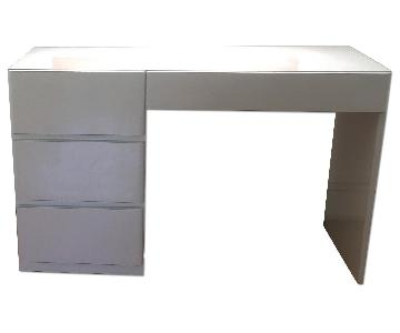 Glossy White Lacquer 4 Drawer Desk