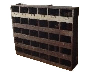 Vintage Industrial Wood Pigeon Hole Storage Shelves