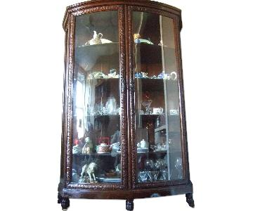Antique Bow-Glass Front China Cabinet